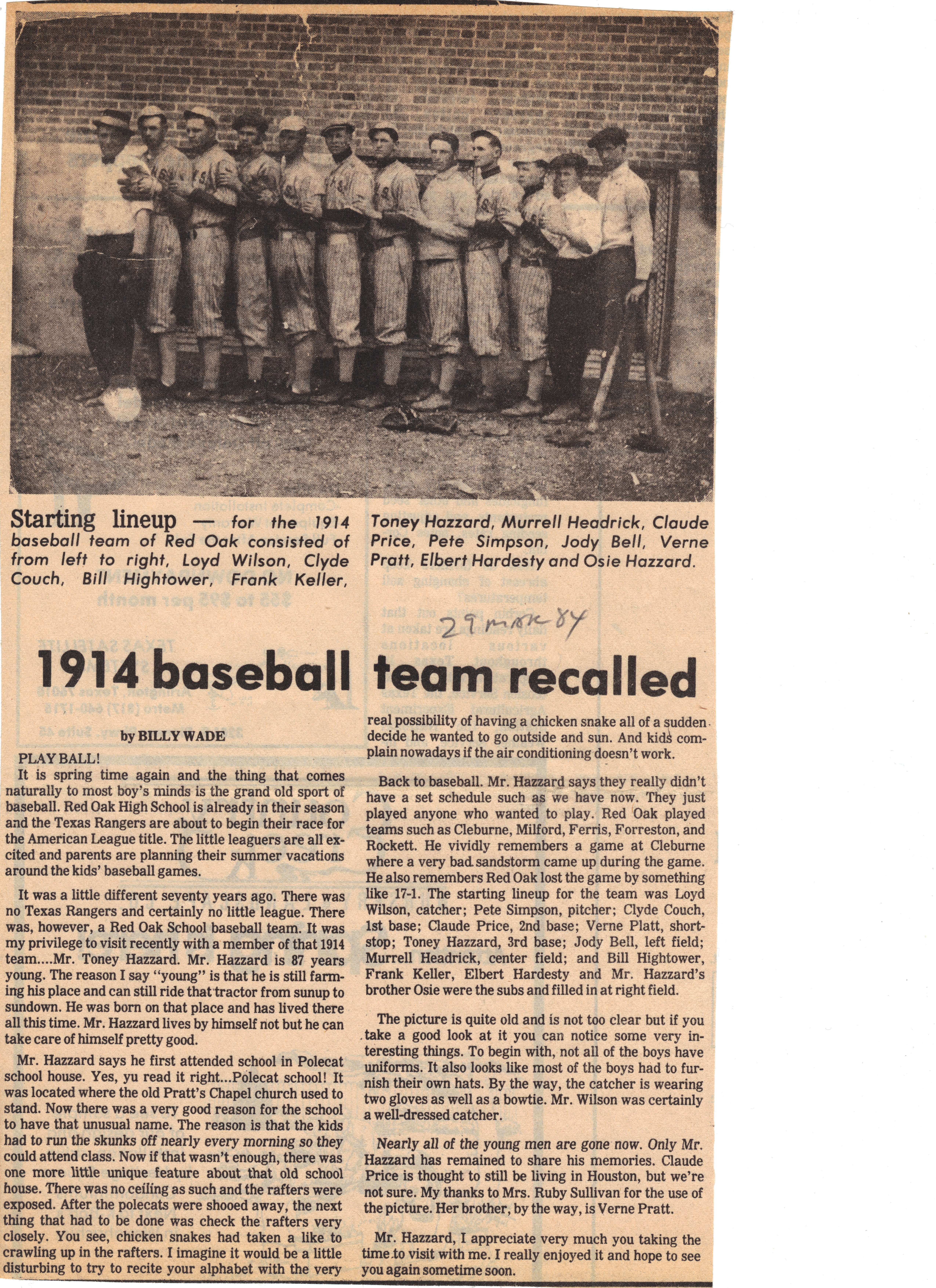 1914 baseball team recalled