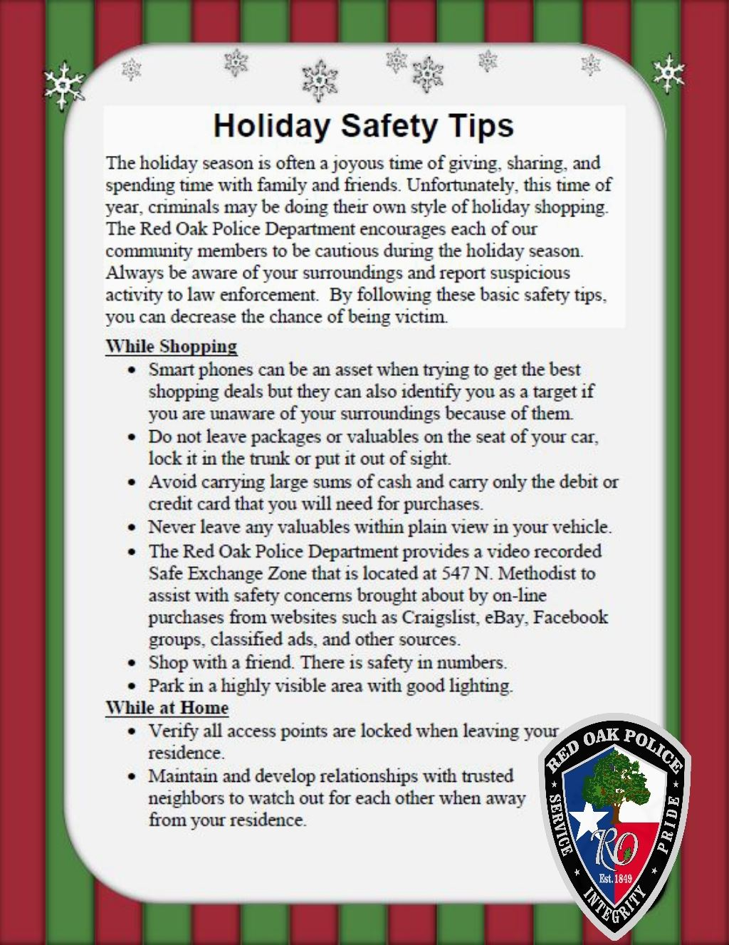 ROPD Holiday Safety Tips p1