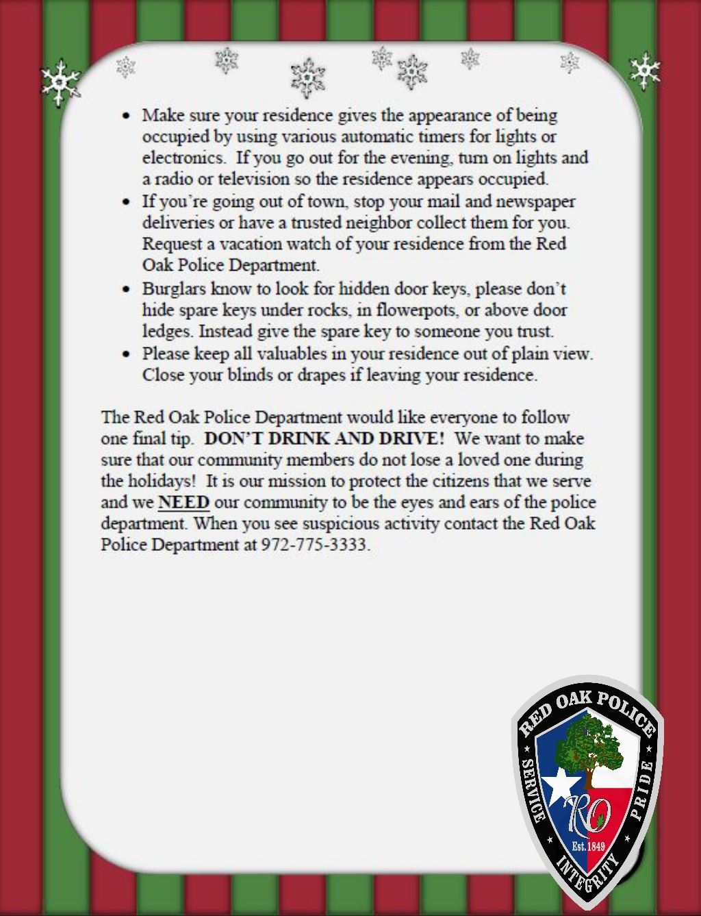 ROPD Holiday Safety Tips p2
